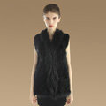 Gorgeous Genuine Knitted Rabbit Fur Vest With Raccoon Fur Collar Women Long Fur Gilet - Black