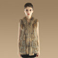 Gorgeous Genuine Knitted Rabbit Fur Vest With Raccoon Fur Collar Women Long Fur Gilet - Brown