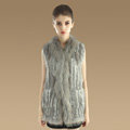 Gorgeous Genuine Knitted Rabbit Fur Vest With Raccoon Fur Collar Women Long Fur Gilet - Grey