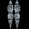 Gorgeous Kiss Lover Crystal Bridal Earrings White Gold Plated Elegant Long Drop Earrings for Women