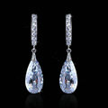 Gorgeous Wedding Accessories Drop Earring Jewelry Top Big Cubic Zirconia White Gold Plated Earrings for Women