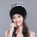 Gorgeous Winter Genuine Mink Fur Hat With Sliver Fox Fur Flower Top Women Knitted Beanies - Black