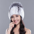 Gorgeous Winter Genuine Mink Fur Hat With Sliver Fox Fur Flower Top Women Knitted Beanies - White