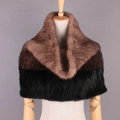 High Grade Knitted Genuine Mink Fur Scarf Collar Women Winter Thickening Elasticity Large Fur Wraps