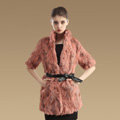 High Quality Natural Rabbit Fur Coat Women Fashion Long Stand Collar Fur Outerwear - Pink