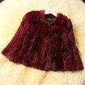 High Quality Natural Rabbit Fur Coat Women Fashion Short Warm Fur Outerwear - Wine Red