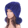 High Quality Real Mink Fur Hat With Fox Fur Balls Women Winter Knitted Beanies Dome Caps - Blue