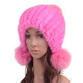 High Quality Real Mink Fur Hat With Fox Fur Balls Women Winter Knitted Beanies Dome Caps - Pink