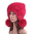 High Quality Real Mink Fur Hat With Fox Fur Balls Women Winter Knitted Beanies Dome Caps - Pure Red