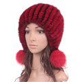 High Quality Real Mink Fur Hat With Fox Fur Balls Women Winter Knitted Beanies Dome Caps - Red