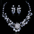 High Quality Vine Flower Crystal Beads Pearl Bridal Wedding Necklace Errings Jewelry Sets