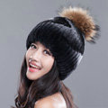 High Quality Winter Real Rabbit Fur Hat With Raccoon Fur Ball Women Knitted Snow Caps - Black Grey