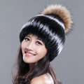 High Quality Winter Real Rabbit Fur Hat With Raccoon Fur Ball Women Knitted Snow Caps - Black White