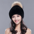 High Quality Winter Real Rabbit Fur Hat With Raccoon Fur Ball Women Knitted Snow Caps - Black