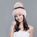 High Quality Winter Real Rabbit Fur Hat With Raccoon Fur Ball Women Knitted Snow Caps - Pink