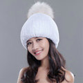 High Quality Winter Real Rabbit Fur Hat With Raccoon Fur Ball Women Knitted Snow Caps - White