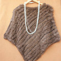High Quality knitted Rabbit Fur Shawl Female Party Pullover Women's Triangle Rabbit Fur Poncho - Brown