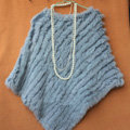 High Quality knitted Rabbit Fur Shawl Female Party Pullover Women's Triangle Rabbit Fur Poncho - Light blue