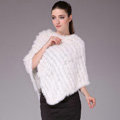 Hot Sale Fur Pashmina Shawls For Female Knitted Rabbit Fur Poncho White Bride Wedding Fur Shawl Winter