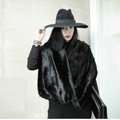 Hot Sales European Fashion Rabbit Fur Large Collar Winter Warm Women's Faux Rabbit Fur Scarf Shawls - Black