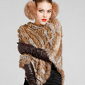Hot sales Delicate knitted Rabbit Fur Shawl Autumn Winter Women's Triangle Fur Poncho - Natural Yellow