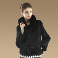 Hot sales Genuine Rabbit Fur Coat With Fox Fur Collar Jacket Fashion Women Fur Outwear - Black