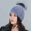 Hot sales Genuine Whole Mink Fur Hats With Fox Fur Ball Women Winter Knitted Beanies Cap - Blue