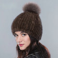 Hot sales Genuine Whole Mink Fur Hats With Fox Fur Ball Women Winter Knitted Beanies Cap - Coffee