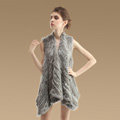 Hot sales Luxury Irregular Knitted Natural Rabbit Fur Vests Cape Women Fur Waistcoat - Natural Grey