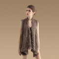 Hot sales Luxury Irregular Knitted Natural Rabbit Fur Vests Cape Women Fur Waistcoat - khaki
