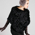 Hot sales New Fur Poncho knitted Rabbit Fur Shawl Spring Autumn Winter Women's Triangle Fur Pullover - Black
