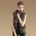 Hot sales New Real Fox Fur Waistcoats Women Fashion Short Genuine Fox Fur Vest Gilet - Khaki