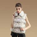 Hot sales New Real Fox Fur Waistcoats Women Fashion Short Genuine Fox Fur Vest Gilet - White