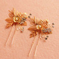 Luxurious Baroque Bridal Gold Crystal Beads Flower Wedding Women Updo Hair pin Accessories