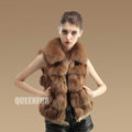 Luxurious Genuine Knitted Fox Fur Waistcoat Fashion Women Short Winter Real Fur Vests - Camel