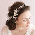 Luxurious Gold Leaf Crystal Beads Pearl Wedding Bridal Hairbands Women Hair Ribbon Accessories