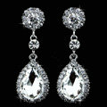 Luxurious Water drop Austrian Crystal Bridal Earrings for Women White Gold Plated Nickel Free Wedding Jewelry