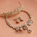 Luxury Clear Rhinestone Water Drops Crystal Necklace Earring Tiara Bridal Wedding Party Jewelry Sets