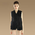 Luxury Fashion Knitted Rabbit Fur Waistcoat With Raccoon Fur Tassels Women Gliet - Black