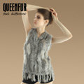 Luxury Fashion Knitted Rabbit Fur Waistcoat With Raccoon Fur Tassels Women Gliet - Nature Grey