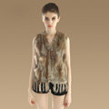 Luxury Fashion Knitted Rabbit Fur Waistcoat With Raccoon Fur Tassels Women Gliet - Nature Yellow