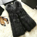 Luxury Genuine Real Whole Raccoon Fur Vest Fashion Women Medium-long Fur Gliet - Black