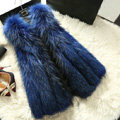 Luxury Genuine Real Whole Raccoon Fur Vest Fashion Women Medium-long Fur Gliet - Blue
