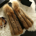 Luxury Genuine Real Whole Raccoon Fur Vest Fashion Women Medium-long Fur Gliet - Brown