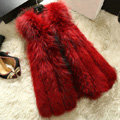 Luxury Genuine Real Whole Raccoon Fur Vest Fashion Women Medium-long Fur Gliet - Red