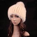 Luxury Genuine Whole Mink Fur Hats With Fox Fur Ball Women Winter Knitted Beanies - Beige Yellow