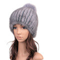 Luxury Genuine Whole Mink Fur Hats With Fox Fur Ball Women Winter Knitted Beanies - Blue Grey