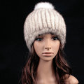 Luxury Genuine Whole Mink Fur Hats With Fox Fur Ball Women Winter Knitted Beanies - White Grey