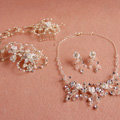 Luxury Handmade Vine Ceramic Flower Crystal Beads Pearl Bridal Wedding Necklace Jewelry Sets