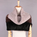 Luxury Knitted Real Mink Fur Scarf Collar Women Winter Thickening Elasticity Large Fur Wraps